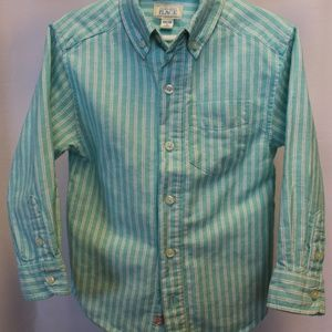 Boys Shirt. Mint-striped, linen-cotton blend, 4T